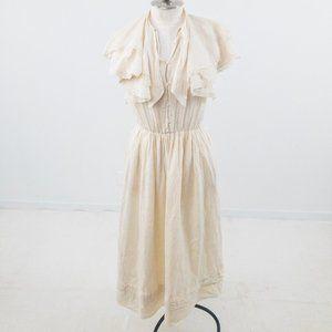 Vintage 80s Couture Lace Collar Prairie Midi Dress